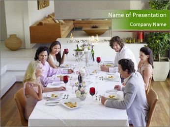 Big Family Having Dinner Together PowerPoint Template