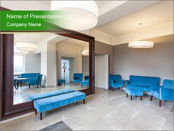 Living Room With Blue Furniture Modelos de apresentações PowerPoint