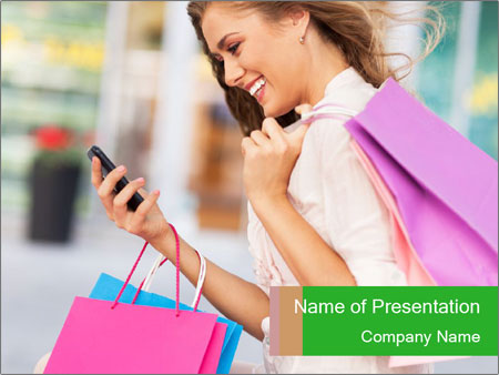 Woman Chatting In Shopping Mall PowerPoint Template