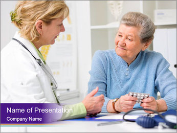 Old Woman Visits Doctor PowerPoint Template - Slide 1
