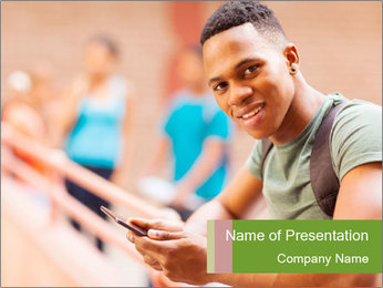 Cheerful African Student PowerPoint Template