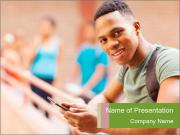 Cheerful African Student PowerPoint Templates