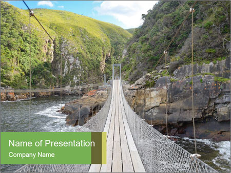 Hanging Bridge In Forest PowerPoint Template