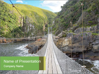 Hanging Bridge In Forest PowerPoint Template - Slide 1