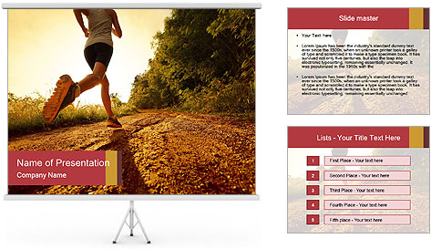 Woman Running Off Road PowerPoint Template