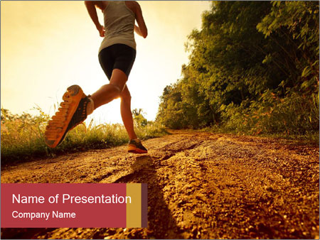 Woman Running Off Road PowerPoint Templates