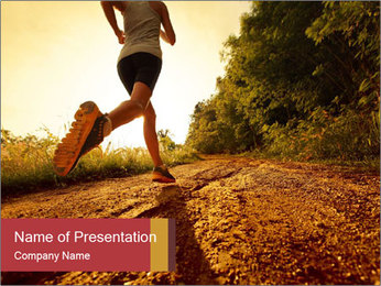 Woman Running Off Road PowerPoint Templates - Slide 1