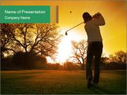 Man Playing Golf During Sunset PowerPoint Templates