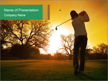 Man Playing Golf During Sunset PowerPoint Templates - Slide 1