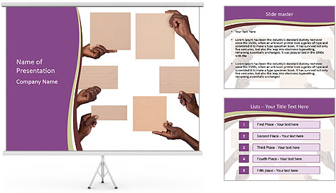 People Hold Blank Paper Boards PowerPoint Template