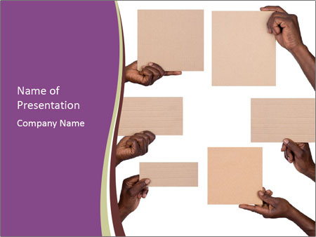 People Hold Blank Paper Boards PowerPoint Templates