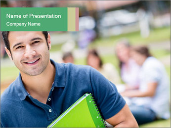 Student At College Campus PowerPoint Template - Slide 1