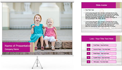 Girl With Baby Sister PowerPoint Template