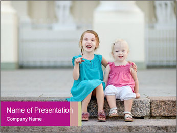 Girl With Baby Sister PowerPoint Template - Slide 1