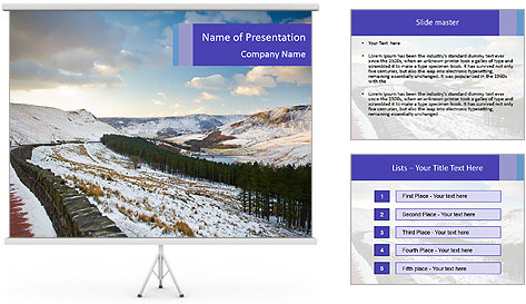 Dovestone Reservoir at Winter PowerPoint Template