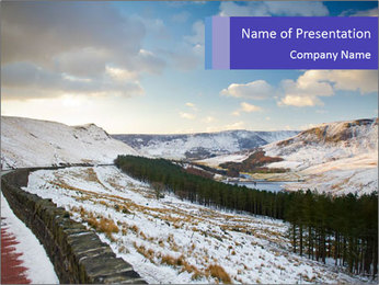 Dovestone Reservoir at Winter PowerPoint Templates - Slide 1