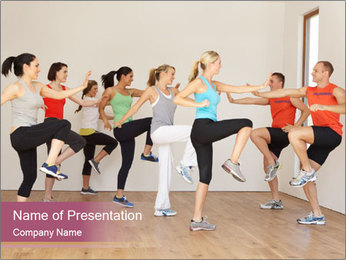 People in Dance Studio PowerPoint Template