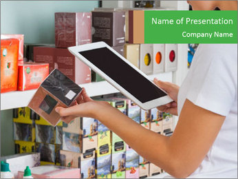 Woman Checks Barcode Plantillas de Presentaciones PowerPoint