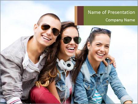 Friends Hanging Together PowerPoint Template