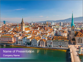 Panorama Of Swiss City PowerPoint Template