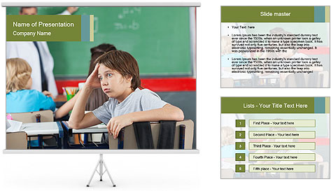 Boy Bored At School PowerPoint Template