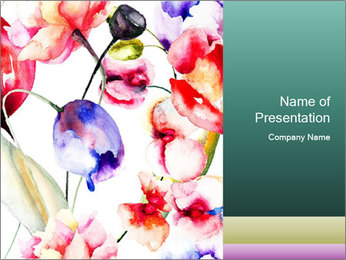 Water Color Flowers PowerPoint Template - Slide 1