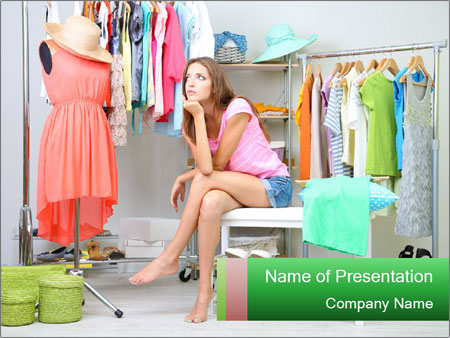 Woman In Boutique PowerPoint Templates