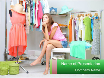 Woman In Boutique PowerPoint Template - Slide 1