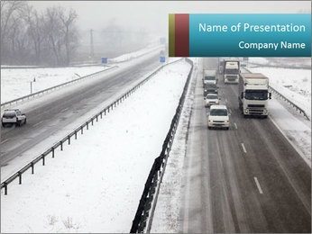 Snowy Highway PowerPoint Templates - Slide 1