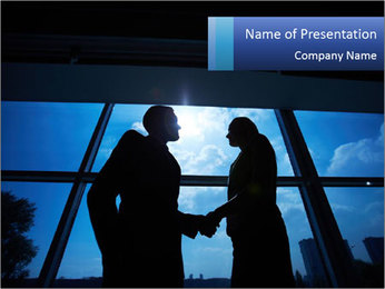 Shadows of Two Colleagues PowerPoint Template