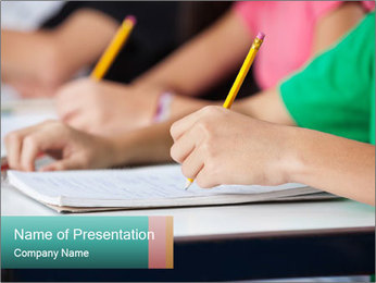 Schoolchildren Making Notes PowerPoint Template - Slide 1