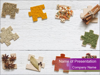 Spices Puzzle PowerPoint Template - Slide 1