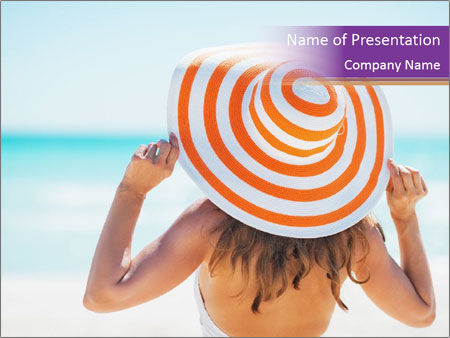 Woman In Red-White Hat PowerPoint Template