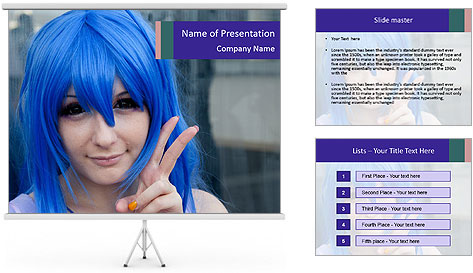 Girl With Blue Hair PowerPoint Template