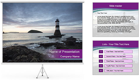 Seashore And Lighthouse PowerPoint Template