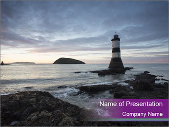 Seashore And Lighthouse PowerPoint Templates - Slide 1