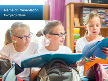 Three Schoolgirls PowerPoint Template