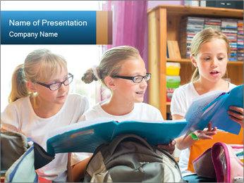 Three Schoolgirls PowerPoint Templates - Slide 1