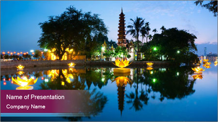 Myanmar At Night PowerPoint Template