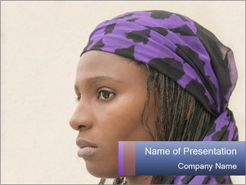 African Woman In Lilac Headgear PowerPoint Template - Slide 1