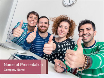 Students Show Big Thumb PowerPoint Template