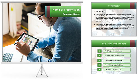 Man Testing New Tablet PowerPoint Template