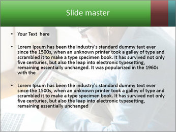Man Testing New Tablet PowerPoint Templates - Slide 2