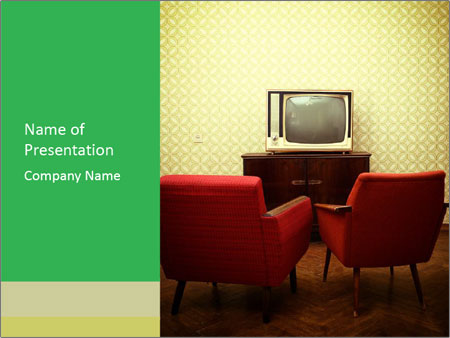 Retro TV And Two Red Armchairs PowerPoint Templates