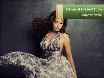 Fluttering Woman PowerPoint Template - Slide 1