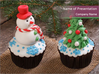 Christmas Cupcake PowerPoint Template - Slide 1