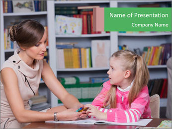 Woman Speaks To Girl PowerPoint Template