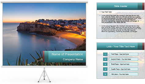 Mediterranean Coast During Sunset PowerPoint Template