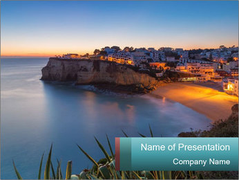 Mediterranean Coast During Sunset PowerPoint Template - Slide 1