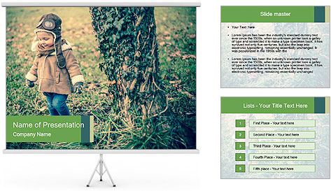 Small Girl In Forest PowerPoint Template
